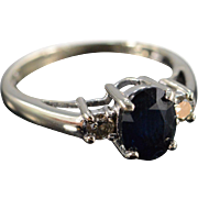 14K 1.40 Ctw Sapphire & Diamond Ring Size 6 White Gold