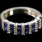 14K 1.93 Ctw Sapphire & Diamond Bar Set Ring Size 8 White Gold