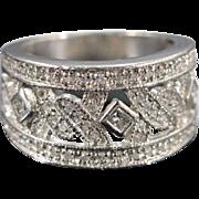 Platinum 0.50 Ctw Diamond Pave Wide Band Ring Size 4.5