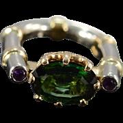 14K 2.58 Ctw Green Tourmaline & Amethyst Designer Zaruba Ring Size 2 Yellow White Gold