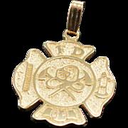 10K Fire Fighter's Shield Emblem Charm/Pendant Yellow Gold