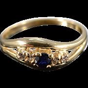 14K 0.20 Ctw Sapphire & Diamond Ring Size 5.25 Yellow Gold