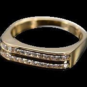 18K 0.25 Ctw Round Diamond Channel Set Wedding Band Ring Size 7.5 Yellow Gold