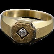 14K 0.14 Ct Diamond Inset Ring Size 9.25 Yellow Gold