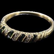 14K 0.43 Ctw Green Tourmaline Diamond Wedding Band Ring Size 8.5 Yellow Gold