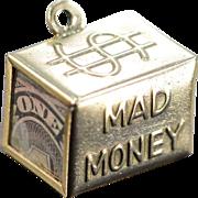 14K Vintage 3D Emergency 'Mad Money' $1 Bill Charm/Pendant Yellow Gold