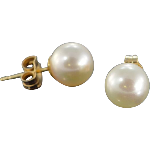 quality 7 5x7 5mm pearl stud earrings 14k yellow gold from