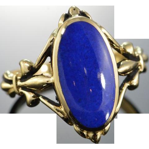 vintage lapis lazuli artisan ring size 6 14k yellow gold