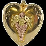 10K Flower Etched Tri Color Motif Heart Photo Locket Pendant Yellow Gold  [QPQQ]