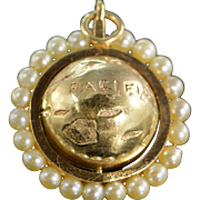 14K Pearl Beaded 3D Spinning Globe Charm/Pendant Yellow Gold