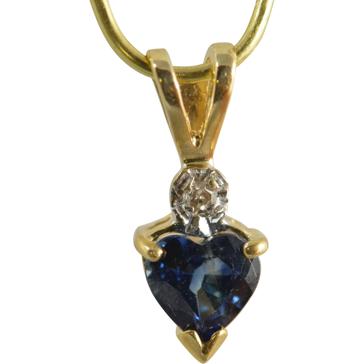 shaped sapphire pendant 14k yellow gold from