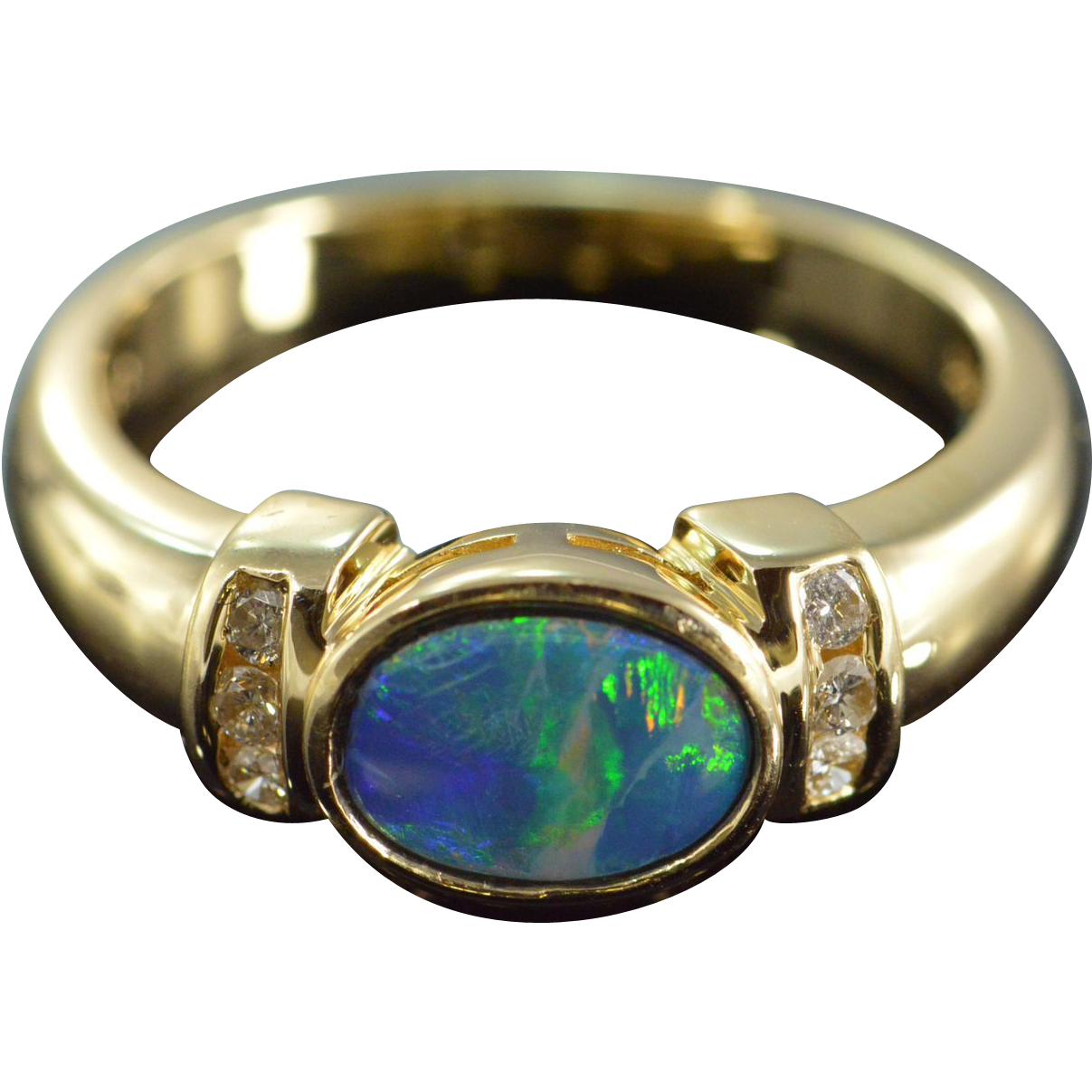blue opal ring size 7 14k yellow gold sold on ruby