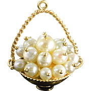 14K 3D Articulated Pearl Bead Basket Charm/Pendant Yellow Gold