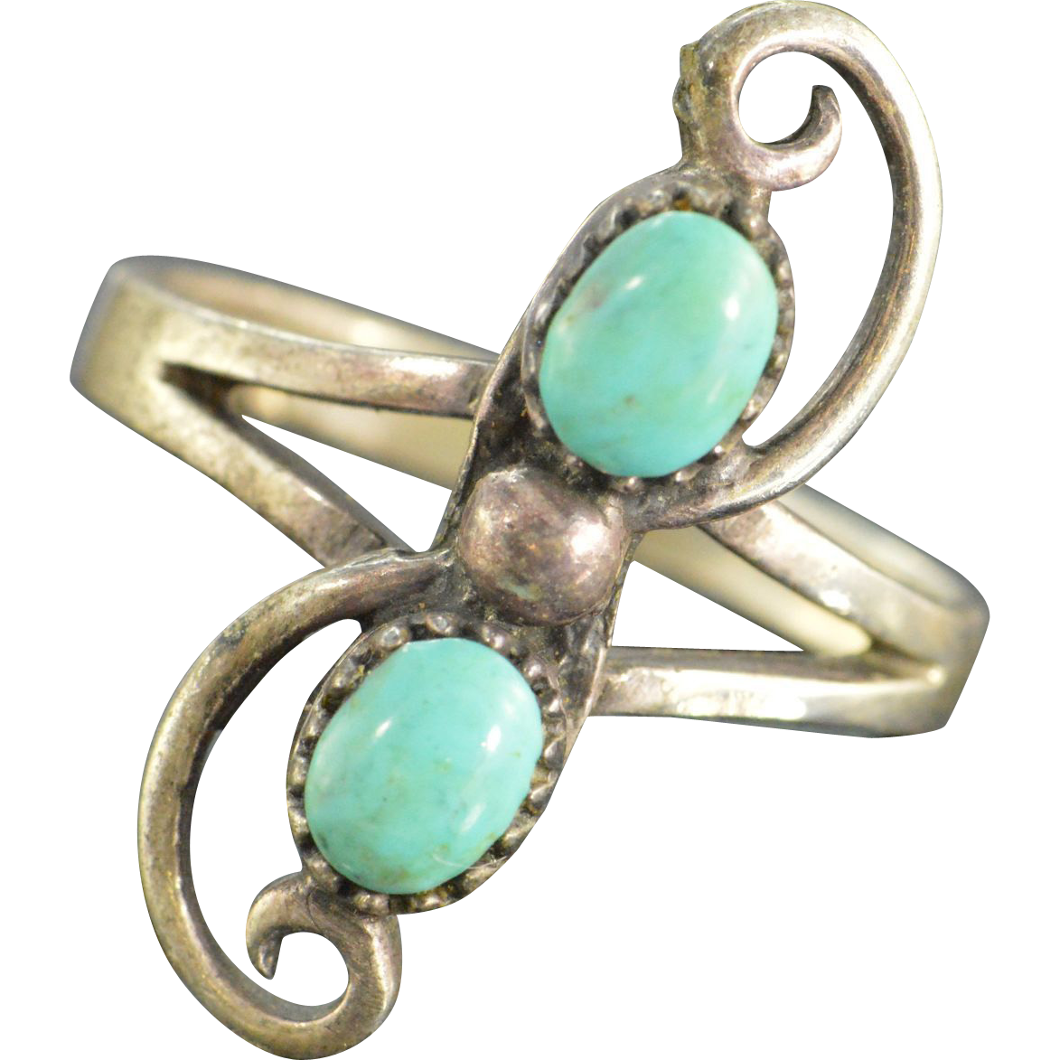 unique turquoise ring sterling silver size 5 5 from