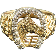 10K 0.07 Ctw Diamond Horse Men's Ring Size 10 Yellow Gold