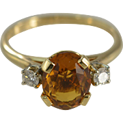 14K 2.25 Ctw Citrine & Diamond Ring Size 8.5 Yellow Gold