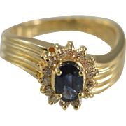 14K 0.78 Ctw Sapphire Halo Diamond Ring Size 5 Yellow Gold