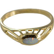 14K Vintage 0.15 Ct Cabochon Opal Ring Size 6 Yellow Gold