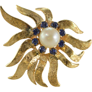 14K 7 mm 0.50 Ctw Sapphire Fancy Flower Pin/Brooch Yellow Gold