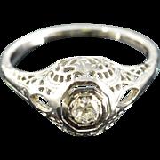 Art Deco 18K 0.25 Ct Old European Cut Diamond Filigree Engagement Ring Size 6.75 White Gold