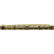 14K Retro Engraved 3 Amethyst Bar Pin/Brooch Yellow Gold