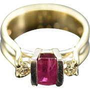 14K 1.06 Ct Ruby 0.34 Ctw Diamond Pressure Set Ring Size 7.5 Yellow Gold