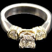 14K 0.80 Ct G/SI1 Princess Cut 1.30 Ctw Diamond Engagement Ring Size 6.5 Yellow/White Gold