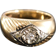 14K 0.22 Ctw Diamond Men's Pinky Ring Size 8.75 Yellow Gold