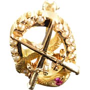 10K Sword Serpent Snake Ruby Seed Pearl Frat Lapel Pin/Brooch Yellow Gold