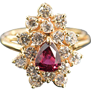14K 0.71 Ctw Rubellite Tourmaline Diamond Cluster Ring Size 6.5 Yellow Gold