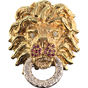 14K Antique 0.61 Ctw Diamond Ruby Lion Head Door Knock Pin/Brooch Yellow Gold