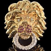 14K 0.61 Ctw Diamond Ruby Lion Head Door Knock Pin/Brooch Yellow Gold