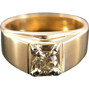 14K 0.75 Ct Diamond Solitaire Men's Ring Size 10 Yellow Gold