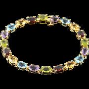"10K 15.00 CTW Colored Gem Stone Tennis Bracelet 7.25"" Yellow Gold"