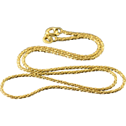 """14K 1.4mm Rope Twist Link Chain Necklace 15.9"""" Yellow Gold"""