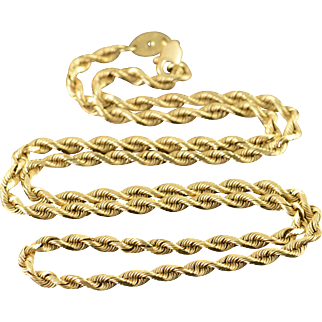 """10K 3.2mm Rope Twist Link Chain Necklace 20"""" Yellow Gold  [QPQQ]"""