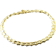 "10K 5mm Fancy Link Diamond Bracelet 7.25"" Yellow Gold  [QPQQ]"