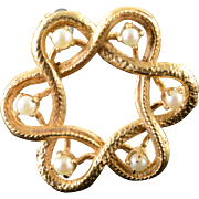 14K 2.5mm Seed Pearl Swirl Woven Pin/Brooch Yellow Gold