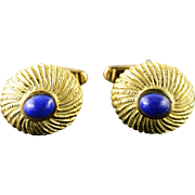 18K 7x6mm Blue Lapis Scallop Cuff Links Yellow Gold  [QPQQ]