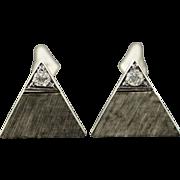 14K 0.20 CTW Diamond Textured Triangle Cuff Links White Gold