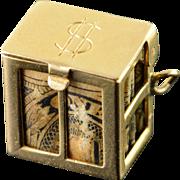 14K Emergency Made Money Old $1.00 Bill Box Charm/Pendant Yellow Gold