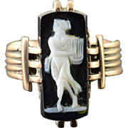 10K 15x7mm Black Carved Cameo Woman Ring Size 4.75 Yellow Gold [QPQQ]