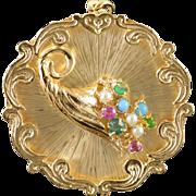 14K 1960's Thanksgiving Gem Stone Cornucopia Vintage Charm/Pendant Yellow Gold