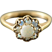 10K 0.50 CTW Opal Halo Ring Size 6.25 Yellow Gold
