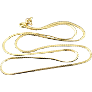 """14K 1.3mm Serpentine Link Chain Necklace 21"""" Yellow Gold"""