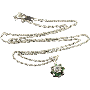 "14K Green & Clear CZ Floral Setting Link Chain Necklace 15.75"" White Gold"