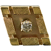 14K 0.05 CT Diamond Shaped Tie Tack Pin/Brooch Yellow Gold