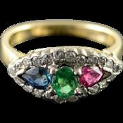 14K Art Deco 0.80 CTW Emerald Ruby Sapphire Diamond Engagement Ring Size 3.75 Yellow Gold