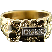 10K Genuine Diamond Nugget Ring Size 9.75 Yellow Gold