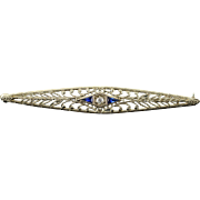 10K 0.14 CTW Diamond Sapphire Art Deco Bar Pin/Brooch White Gold